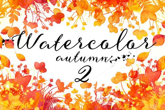 15 Watercolor Autumn Elements