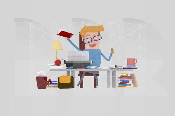 3D Illustration Writer Man