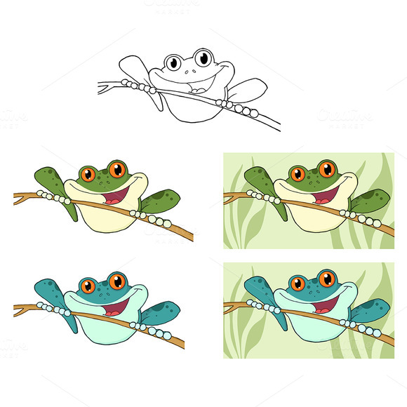 Happy Green Tree Frogs