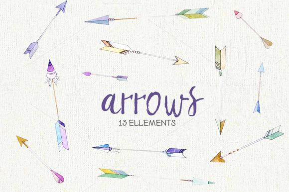 Arrows Watercolor Clipart