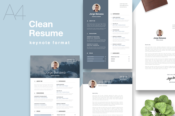 Clean Resume A4 Keynote Format