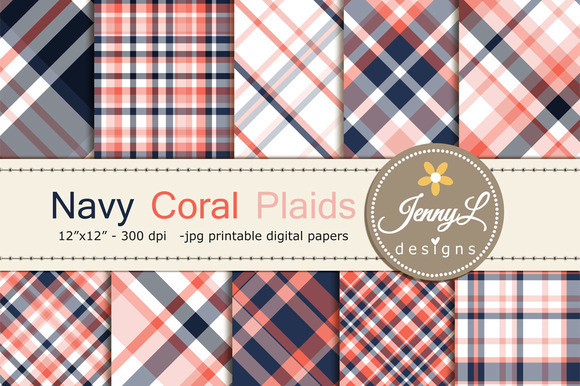 Coral Navy Plaids Digital Papers