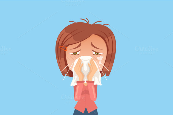 Allergy Woman Character Sneeze