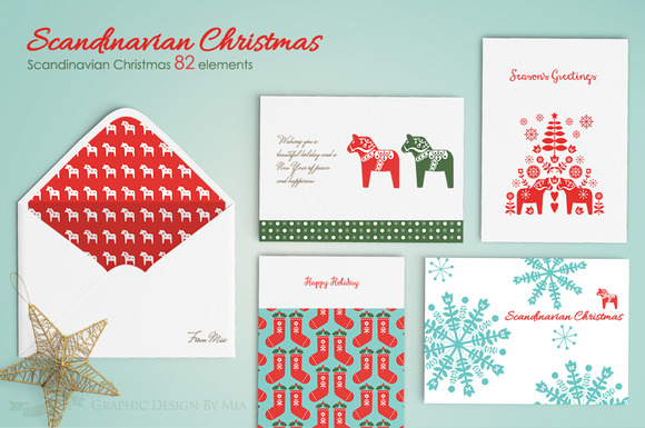 Scandinavian Christmas 82 Elements