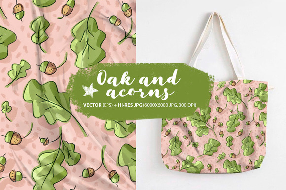 Pattern With Oak And Acorn