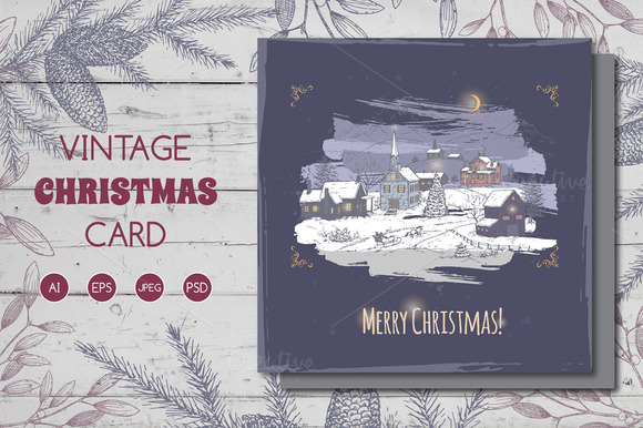 Holiday Village Christmas Card