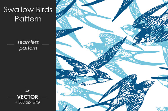 Swallow Birds Seamless Pattern
