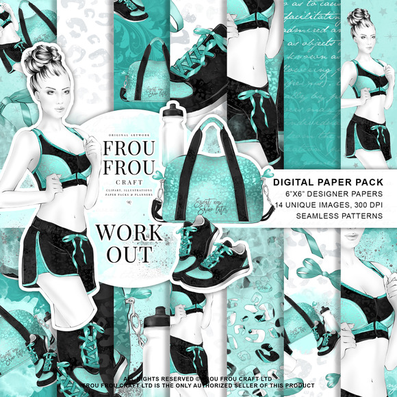 Fitness Yoga Sport Girl Paper Pack