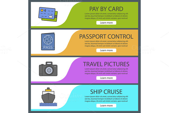 Travel Banner Templates Vector