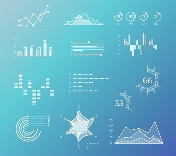 Line Vector Graphs Charts Diagrams