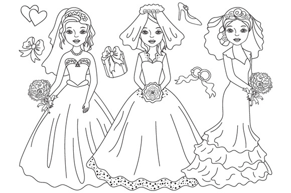 Vector Black White Wedding Brides