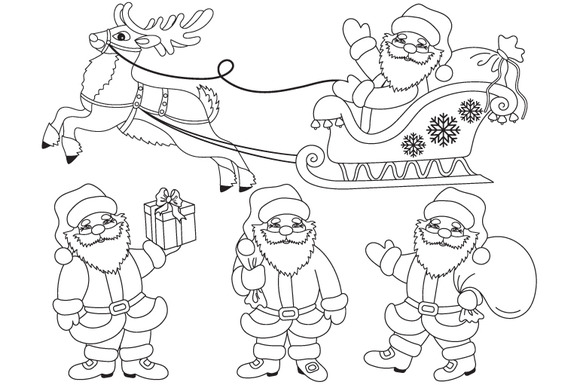 Vector Black White Santa Claus Set