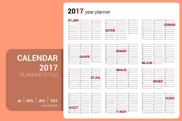 Calendar 2017 Planner Design
