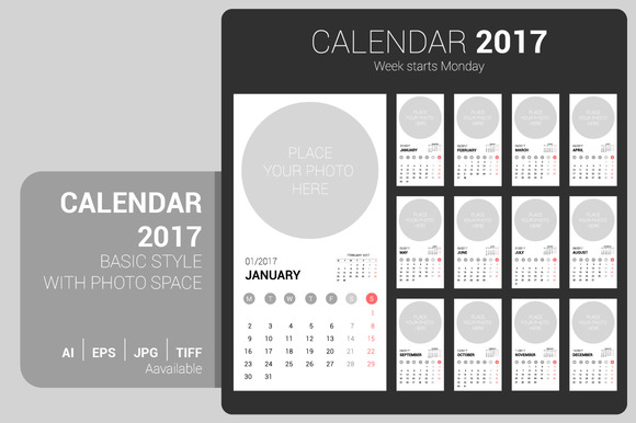 Calendar 2017 With Photo Space