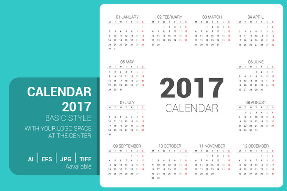 Simple Calendar 2017 With Logo Space
