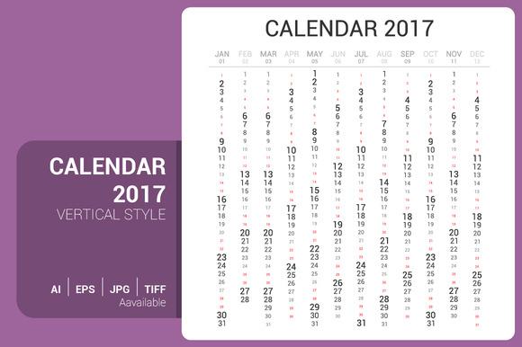 Calendar 2017 Vertical Design