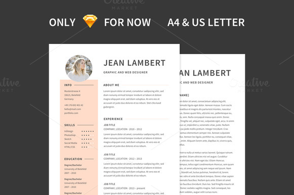Resume Cover Template A4 US