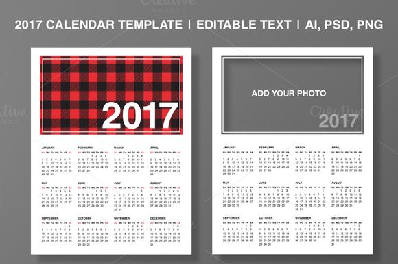 2017 Calendar Template Editable Text