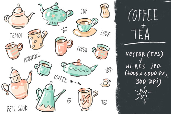 Vector Set Collection Tea Coffee