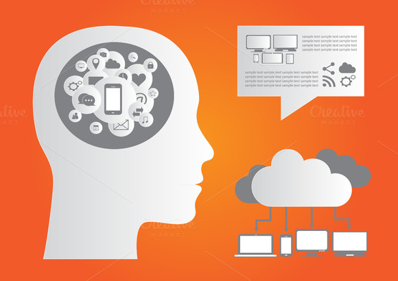 Cloud Computing Infographic Orange