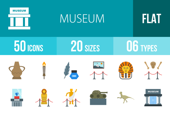 50 Museum Flat Icons