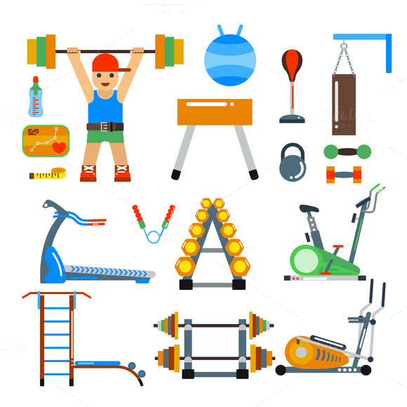 Fitness Gym Club Vector Icons