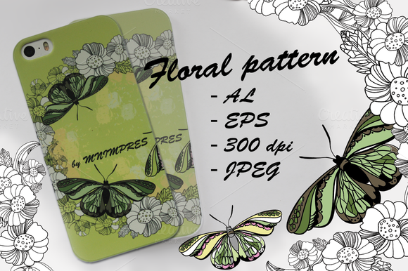 Floral Pattern Butterfly Spors
