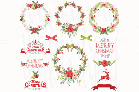 Christmas Wreath Design Elements
