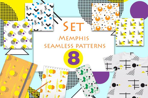 Memphis Style Seamless Patterns