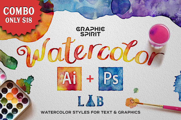 Combo WATERCOLOR Lab Ai Ps
