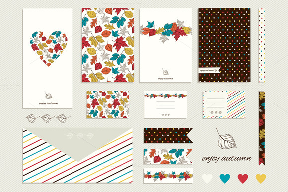 Cards Design With Autum Leaves