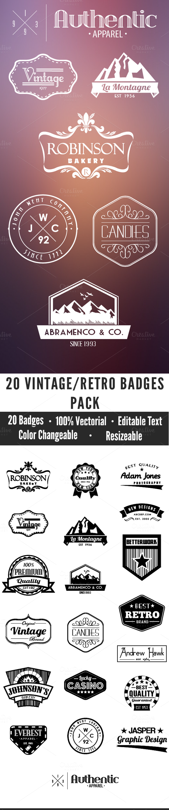 20 Vintage Badges Pack
