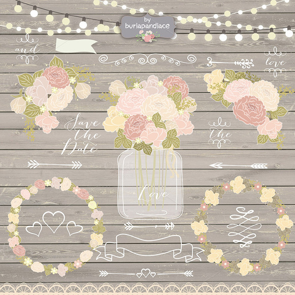 Vector Rustic Chalk Flower Wedding