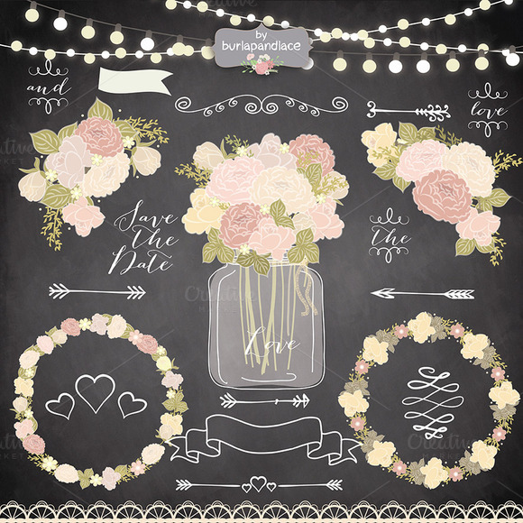Vector Chalk Rustic Flower Clipart