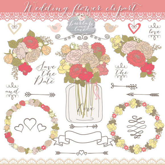 Vector Coral Red Wedding Flowers