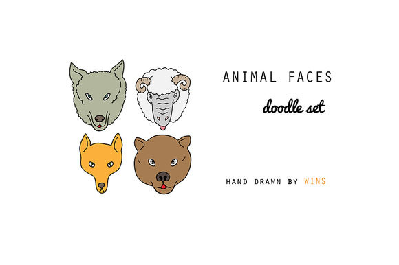 Zoo Animal Faces Doodle Set
