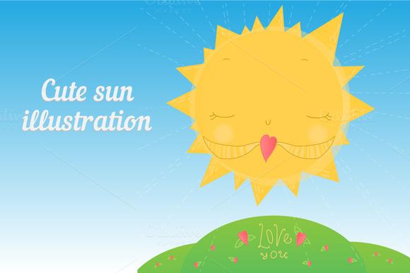 Cute Sun Illustration For Children