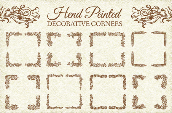 8 Retro Decorative Corners Ornament