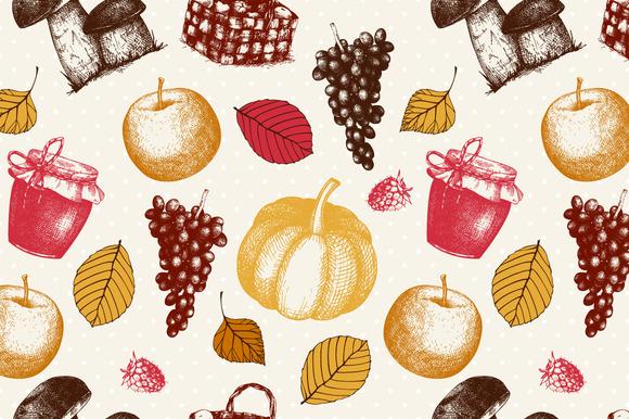 Ink Hand Drawn Autumn Pattern