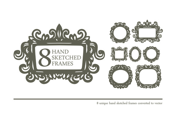 8 Hand Sketched Frames In Vector