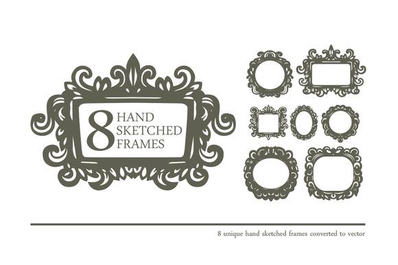 8 Hand Sketched Frames In Vector
