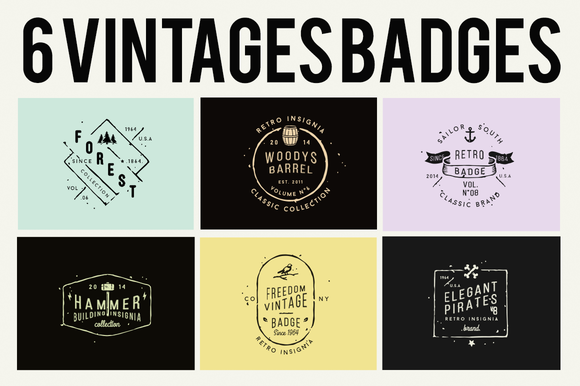 30% OFF 6 Vintage Badges