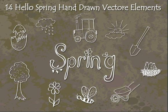 Hello Spring Hand Drawn Vectors