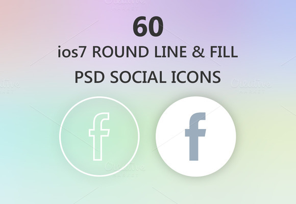 Round Social Icons IOS 7 Style