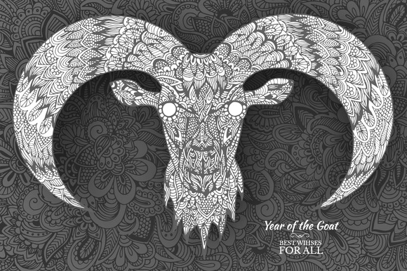 Hand Drawn New Year 2015 Of Goat