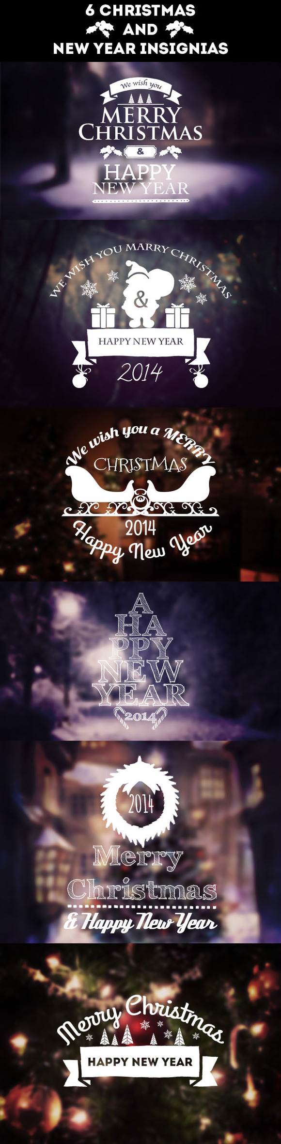 Christmas And New Year Badges Set
