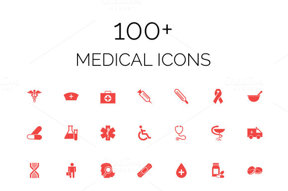 100 Medical Vector Icons Pack