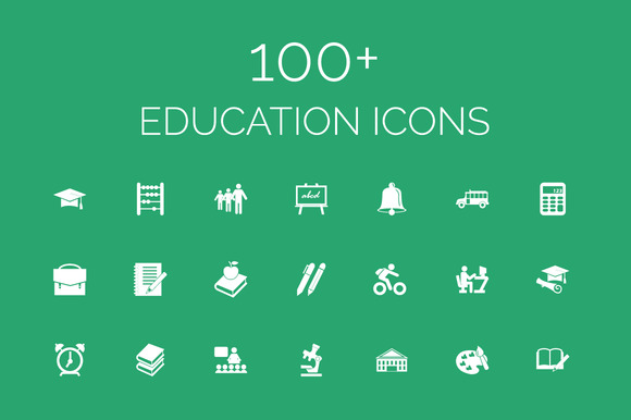100 Education Vector Icons Pack