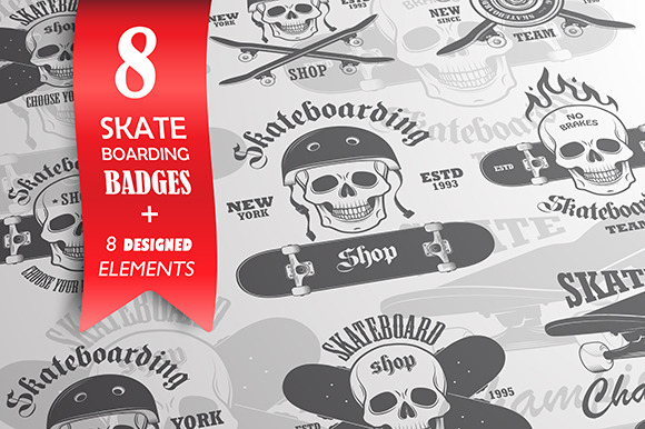 Skateboarding Badges And Elements