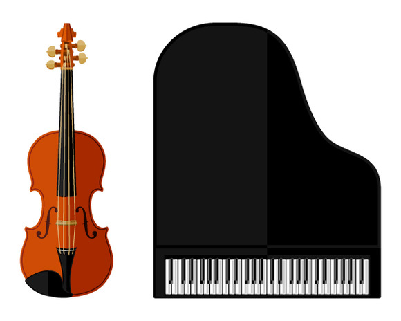 Flat Violin And Grand Piano